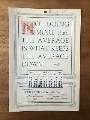 Antique July 1921 Calendar Osboldstone Co Melbourne Printer Vintage Card