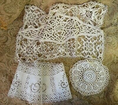 Antique French hand made needle lace pieces linen tape lace, white work
