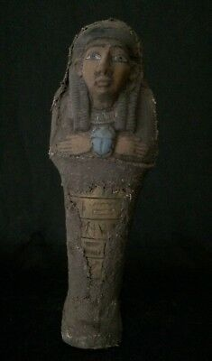 Ancient EGYPT SHABTI Mummy EGYPTIAN ANTIQUE STATUE Ushabti Scarab Stone 1479 BC