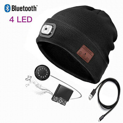 UK Unisex LED Bluetooth Music Beanie-Hat Headset With USB Rechargeable Gift