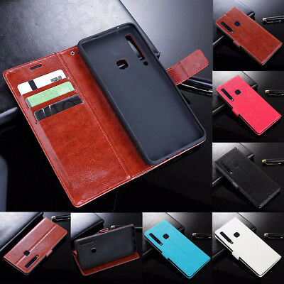 For Samsung Galaxy A9 2018 A7 A8 A6 Magnetic Flip Card Wallet Leather Case Cover