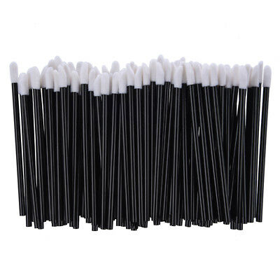 100 Count Disposable Lip Gloss Wands Applicators Thin Black Handle Flocked  X3F2