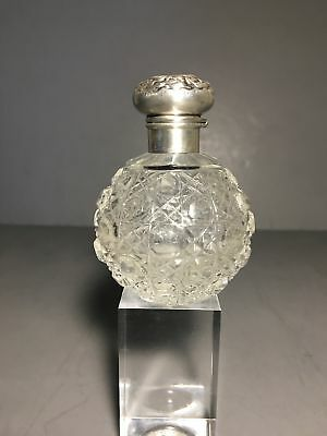 Antique Crystal Perfume Bottle with Sterling Cap by Levi & Salaman c. 1905