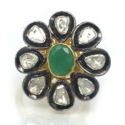 Natural Emerald Polki Pave Diamond Ring 925 Sterling Silver Gift Jewelry SR-119