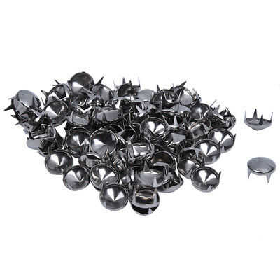 100 Silver Tone 10mm Round Conical Studs Spots Punk Rock Nailheads Spikes Z3X2)