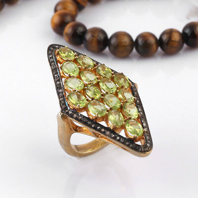 Natural Peridot Pave Diamond Ring 925 Sterling Silver Vintage Jewelry YR-198