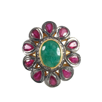 Natural Ruby Emerald Rose Cut Pave Diamond Ring 925 Sterling Silver SR-234