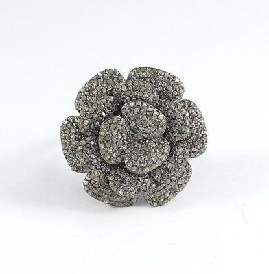 Victorian Rose Cut Pave Diamond Flower Ring 925 Sterling Silver Jewelry SR-239