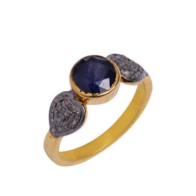 Natural Sapphire Pave Diamond Ring 925 Sterling Silver Victorian Jewelry SR-251