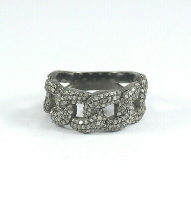 Victorian Rose Cut Pave Diamond Band Ring 925 Silver Jewelry Free Ship SR-265
