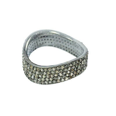 Victorian Rose Cut Pave Diamond Ring 925 Sterling Silver Gift Jewelry SR-271