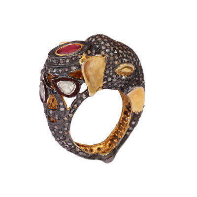 Natural Ruby Polki Pave Diamond Elephant Ring 925 Sterling Silver Jewelry SR-277
