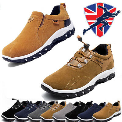 Mens suede Slip On Sports Shoes Outdoor Sneakers Running Easeful Hiking Trainers