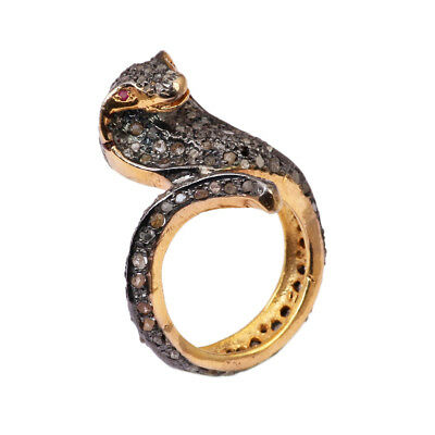 Pave Diamond Snake Ring 925 Sterling Silver Antique Style Jewelry SR-279
