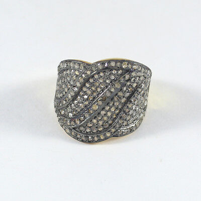 Rose Cut Pave Diamond Ring 925 Sterling Silver Victorian Style Jewelry SR-359