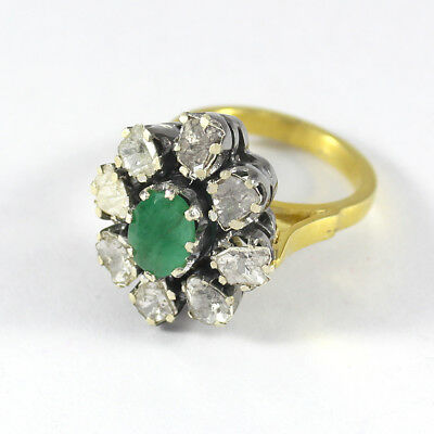 Natural Emerald Polki Pave Diamond Ring 925 Sterling Silver Gift Jewelry SR-364