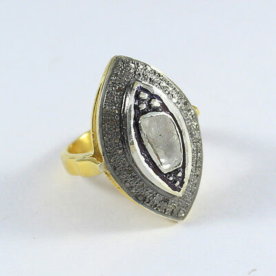 Victorian Polki Pave Diamond Marquise Shape Ring 925 Sterling Silver SR-370