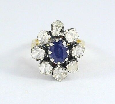 Natural Sapphire Polki Pave Diamond Ring 925 Sterling Silver Fine Jewelry SR-383