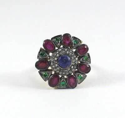 Natural Ruby Pave Diamond Ring 925 Sterling Silver Vintage Style Jewelry SR-385