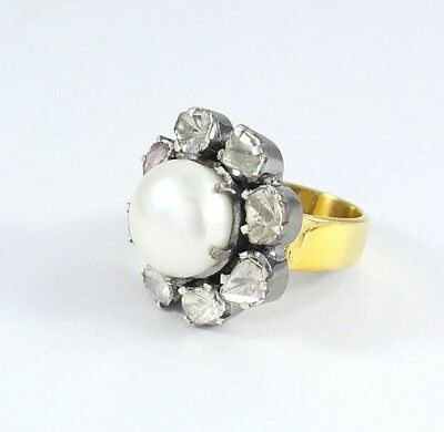 Victorian Polki Pave Diamond 925 Sterling Silver Pearl Stone Ring Jewelry SR-384