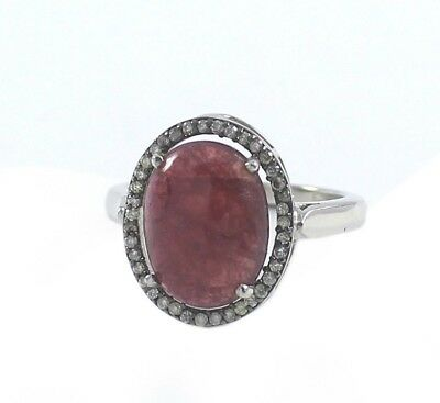 Natural Ruby Pave Diamond Ring 925 Sterling Silver Vintage Style Jewelry SR392