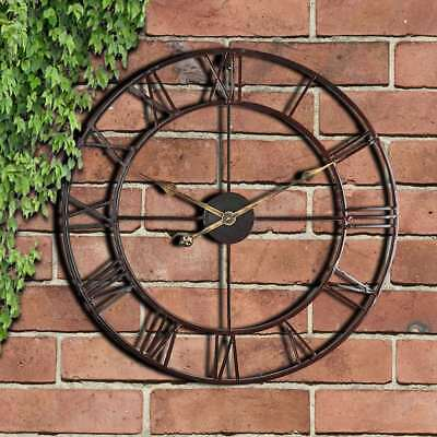 58cm Garden Outdoor Wall Clock Big Roman Numerals Large Open Face Metal Round
