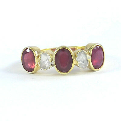 Natural Ruby Polki Diamond Ring 925 Sterling Silver Vintage Style Jewelry SR398
