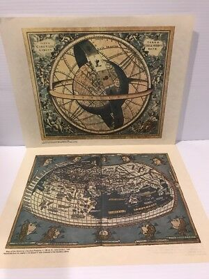 VTG Old World Maps Reproduction Prints Lot (2) ARMILLARY SPHERE + PTOLEMY ULM