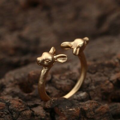 Dainty Fawn Doe Baby Deer Ring - Ancient Style in Gold or Silver Color