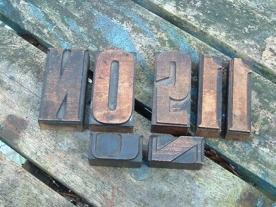 Lot 7 Vintage Printing Letterpress  Wooden Block Letters And Nos. Assorted