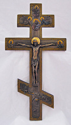 Byzantine Crucifix, hand-painted cold-cast bronze, 9x17.5 inches
