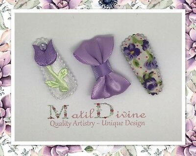 Baby Girls Non Slip Hair Clips Bow ~ 3 cm Snap Clips ~ Set of 3 ~ Lavender Tulip