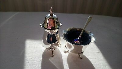 Sterling Silver Antique Pepper & Salt Cellar Glass Liner Birmingham 1915