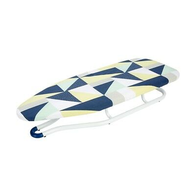 Portable Table Top Ironing Board Iron Clothes Folds-Flat Desk Padded Geo Design