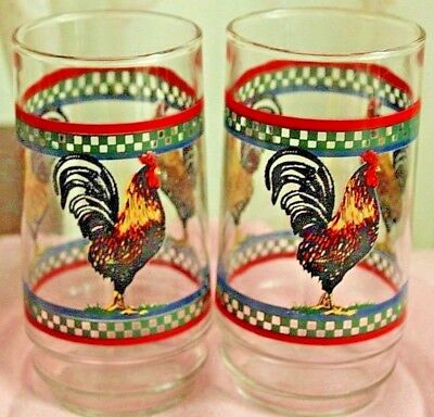 (2) Two Vintage Rooster Decorated Glasses
