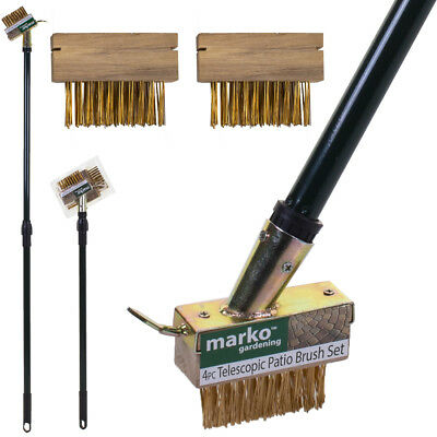 4Pc Patio Weed Brush Set Block Paving Moss Grout Gap Garden Scraper Telescopic