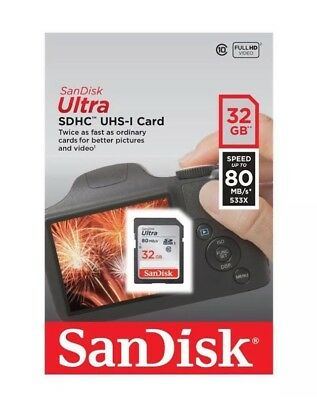 New 32GB Sandisk Ultra SD Card SDHC Class 10 UHS-1 Memory Card 80MB/s