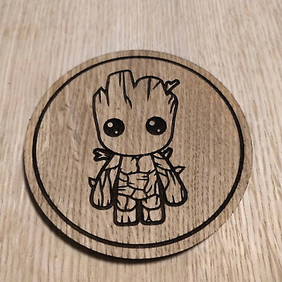 Marvel Inspired Wooden Coaster Baby Groot Laser Cut Gift