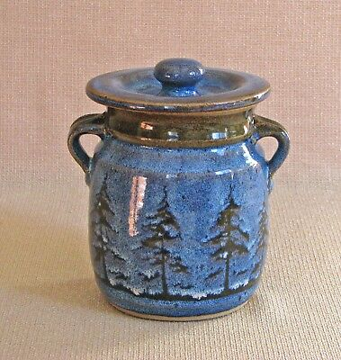 potterybydave -  X-Sm Canister or Wild Rice Jar - Blue w/ Pine Trees Design