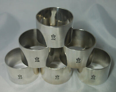 Six Antique Silver Plated Napkin Rings AM A682917
