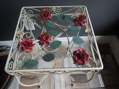 Retro Vtg Mid-Century Tole Metal Flower Wrought Iron Table Glass Top Unique!!