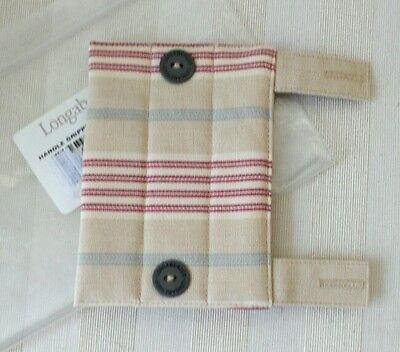 Longaberger Retired HANDLE GRIPPER with Button AWNING STRIPE Fabric MIB