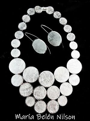 "Maria Belen ~Regal~Reticulated Sterling Metallic Textured ""CIRCLE"" Necklace~18"""