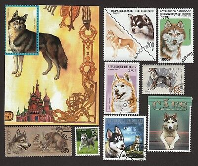 SIBERIAN HUSKY ** Int'l Dog Postage Stamp Collection**Unique Gift Idea**