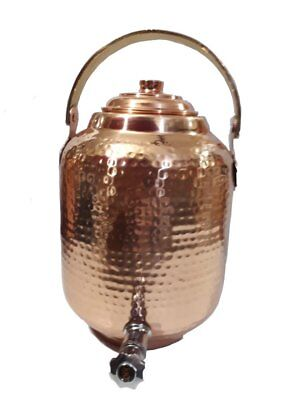 Copper Water Dispenser Seamless 1.7 gal 6.5 Ltr 218 oz Pot Storage Tank With Tap