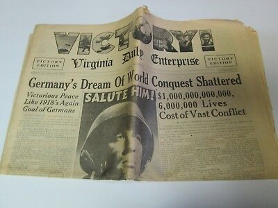 Virginia Daily Enterprise Victory Edition Newspaper World War II Germany's Dream
