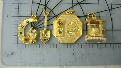 Vtg Collection 4 New Old Stock Gold Tone Charms Love Theme & Wishing Well-Cute