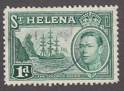 St Helena, 1938, 1d green, SG132, Sc 119, used.