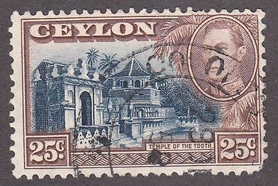 Ceylon, 1938, 25c brown and blue, SG 392; Sc 284, used.
