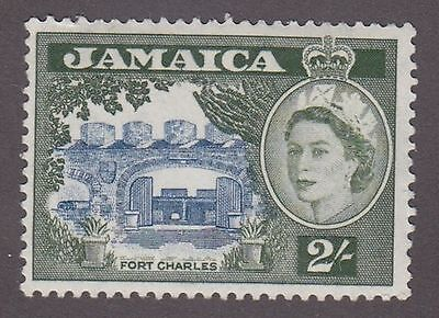 Jamaica, 1956, 2/- green and blue,  SG170, Sc170, mint, light hinged.